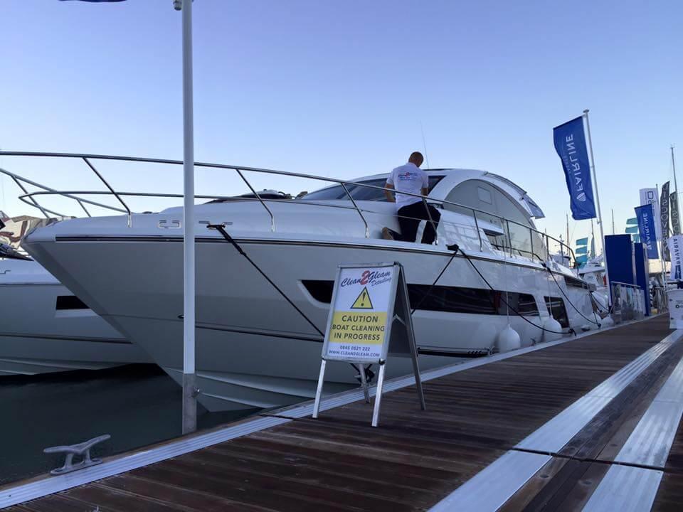 CleanToGleam yacht detail clean underway at boat show