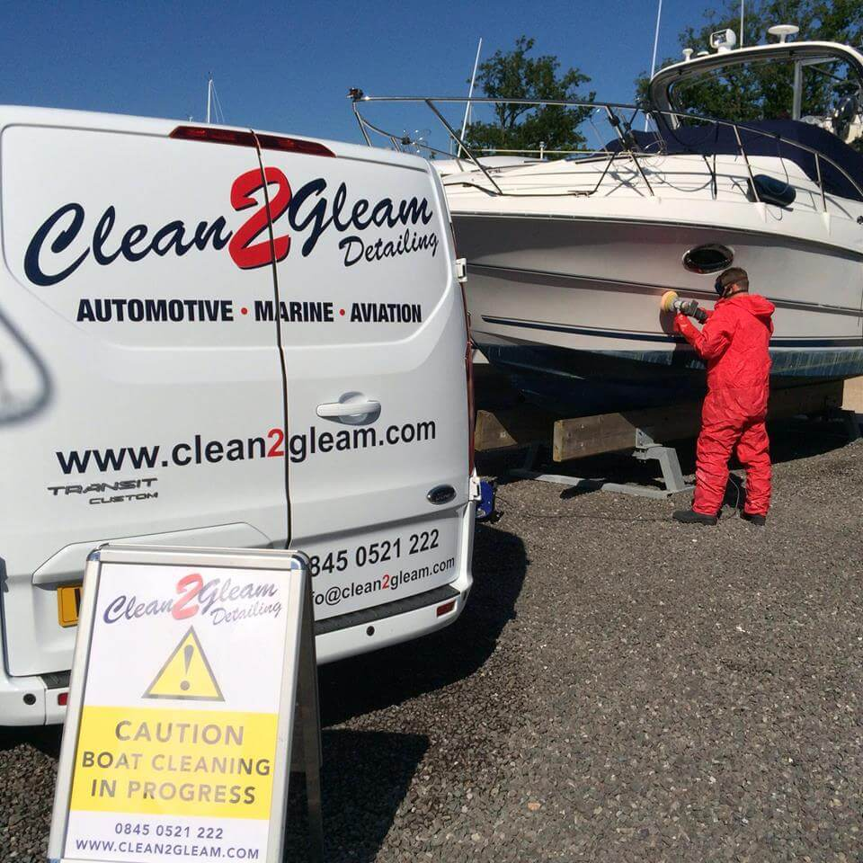1. Boat being professionally cleaned